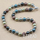 Clssic Design 12mm Faceted Round Assorted Six Different Color Seashell Beaded Necklace