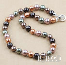 Clssic Design 12mm Faceted Round Assorted Five Different Color Seashell Beaded Necklace