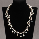 Assorted White Freshwater Pearl and Clear Crystal Necklace with Brown Cord