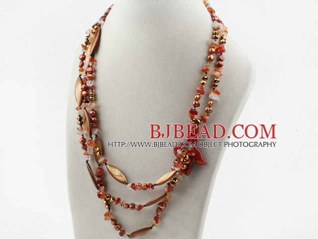 Multi Strands Brown Pearl Crystal and Shell and Agate Flower Necklace