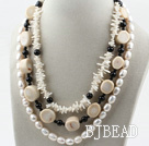 Multi Strand White Freshwater Pearl and White Coral Necklace under $ 40