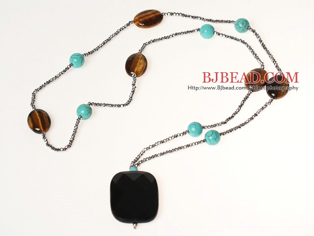 Fashion Style Turquoise and Tiger Eye Necklace with Black Crystal Pendant