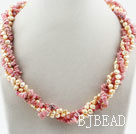 Pink Series Freshwater Pearl and Rhodonite Twisted Necklace