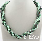Green Series Freshwater Pearl and Zoisite Twisted Necklace