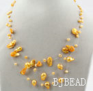 Three Strands Fantasy Style Yellow Color Teeth Shape Pearl Necklace under $ 40