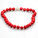 Fashion Single Strand Red Potato Shape Seashell Beads Necklace With Rhinestone Magnetic Clasp
