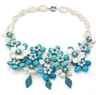 2013 Summer New Design White and Green Series White Shell and Turquoise Flower Necklace