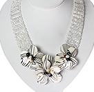 White Series Crystal Clear e Pearl Necklace Flor Shell