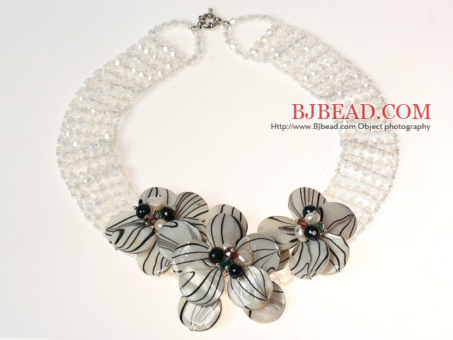 White Series Clear Crystal and Pearl Shell Flower Necklace
