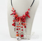 Assorted Red Coral Necklace with Black Cord