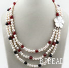 Three Strands White Freshwater Pearl and Black Agate and Carnelian Necklace with White Shell Flower Clasp