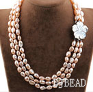 Three Strands Natural Pink Color Baroque Pearl Necklace with White Shell Flower Clasp under $ 40