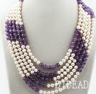 Five Strands 7-8mm Round White Freshwater Pearl and Amethyst Necklace under $ 40