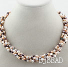 Assorted 3-4mm Purple Series Freshwater Pearl Twisted Necklace