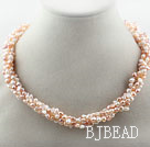 Assorted 3-4mm Pink Series Freshwater Pearl Twisted Necklace