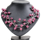 Trendy Style Multi Strand Purple Red Seashell Beads Twisted Necklace With Bending Alloyed Tube
