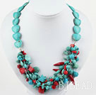 multi strand colorful stone and crystal necklace with lobster clasp