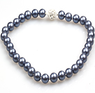 Fashion Single Strand 12Mm Dark Grey Round Seashell Beads Necklace With Rhinestone Magnetic Clasp
