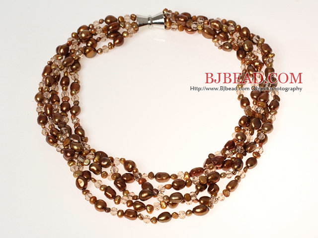 Multi Strands Coffee Brown Series Freshwater Pearl Crystal Necklace with Magnetic Clasp