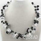 Clear Crystal and Black Crystal Necklace