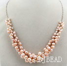 Natural Pink Freshwater Pearl Necklace with Metal Chain