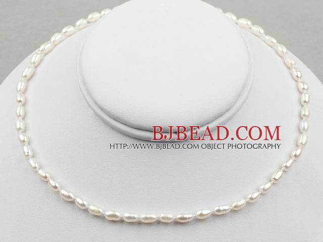 3-4mm Rice Shape White Freshwater Pearl Necklace