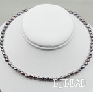 3-4mm Rice Shape Black Freshwater Pearl Necklace