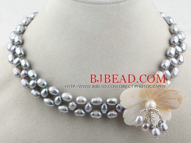 Gray Freshwater Pearl and White Shell Flower Necklace