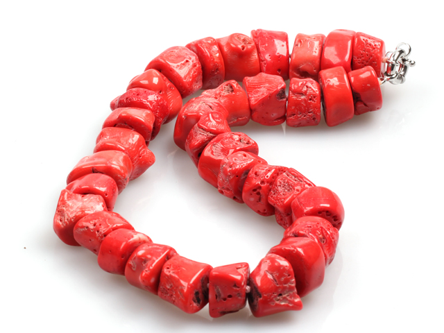 Chunky Style Irregular Shape Big Coral Nugget Necklace with Moonlight Clasp