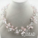 Assorted Clear Crystal and Pink Crystal Necklace
