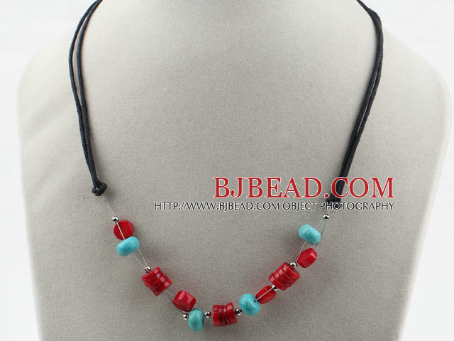 Simple Style Red Coral and Turquoise Necklace