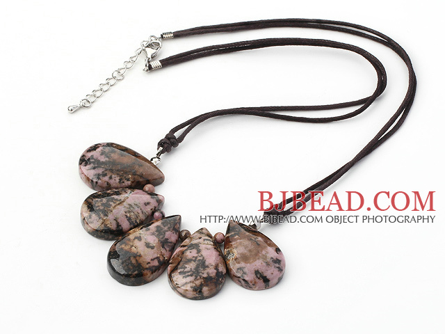 Fan Shape Red Jasper Stone Necklace