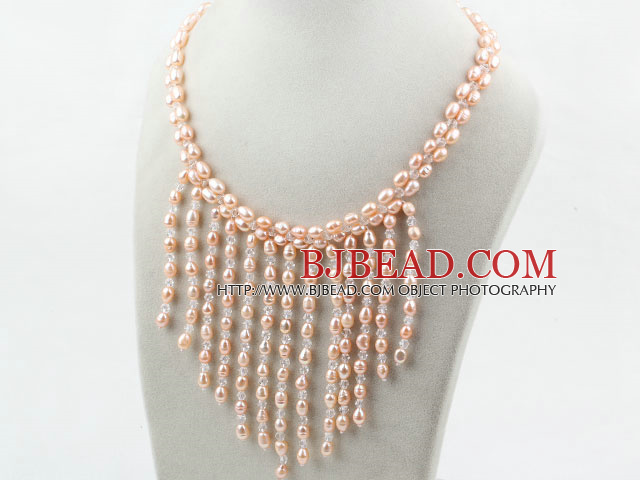 New Design Pink Pearla and Clear Crystal Tassel Necklace