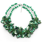 Peacock Green Acrylic Beads and Clear Crystal and Green Shell Flower Wired Necklace