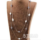 Long Style Gray Agate and White Freshwater Pearl Necklace with Metal Chain under $ 40