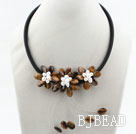 White Freshwater Pearl and Tiger Eye Flower Necklace with Black Cord