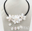 White Freshwater Pearl and White Shell Flower Necklace with Black Cord
