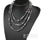 Long Style Assorted Gray Drop Shape Agate Necklace