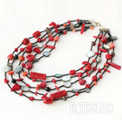 multi strand red coral and black lip shell necklace with slide clasp