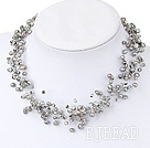 Multi Strands Gray Freshwater Pearl Crystal Necklace