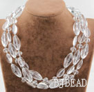 Three Strands Assorted Clear Crystal Necklace with Heart Shape Clasp under $ 40
