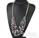 Pink Series Multi Layer Freshwater Pearl and Rose Quartz and Pink Crystal Necklace with Metal Chain under $ 40