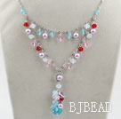 New Design Assorted Multi Color Crystal Necklace with Metal Chain