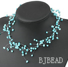 Fancy Style Sky Blue Color Freshwater Pearl Bridal Necklace