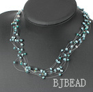 Multi Strands Green Freshwater Pearl and Green Crystal Necklace under $ 40