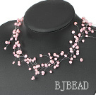 Fancy Style Pink Freshwater Pearl Bridal Necklace