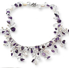 2013 Summer New Design White Freshwater Pearl and Clear Crystal and Amethyst Tree Shape Necklace