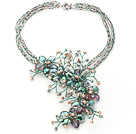 2013 Summer New Design Green Crystal and Pink Freshwater Pearl Flower Necklace