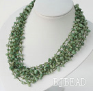 elegant multi strand aventurine necklace with shell flower necklace