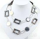 fashion long style party jewelry shell necklace with big metal loops